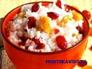 Как приготовить рис на воде с клюквой