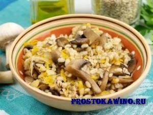 Ячневая каша с грибами