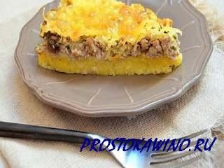 Мясной пирог с полентой или Запеканка с фаршем и кукурузной кашей